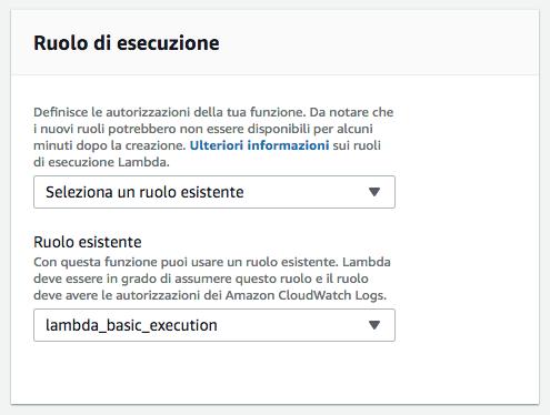AWS Amazon Web Services - Lambda - Ruolo di esecuzione