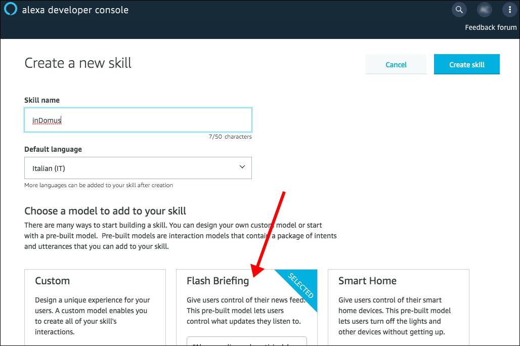 Alexa Flash Briefing - step 1