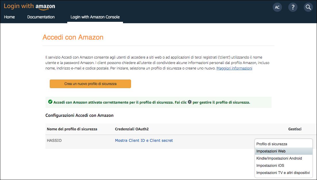 Amazon Developer Console - Impostazioni Web Profilo di sicurezza