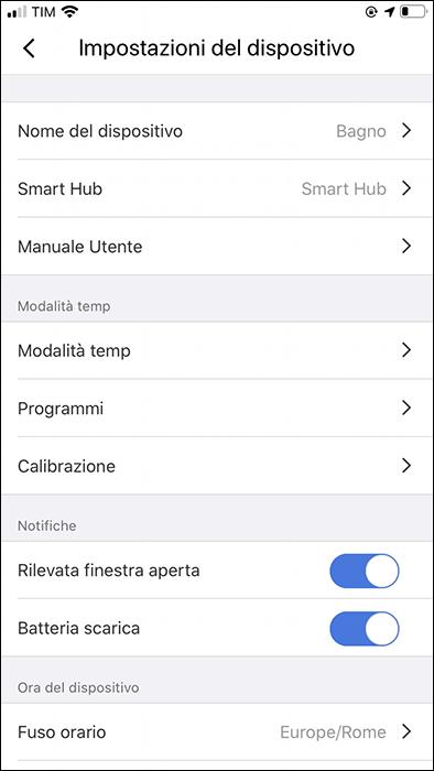 App Meross - Impostazioni testa termostatica
