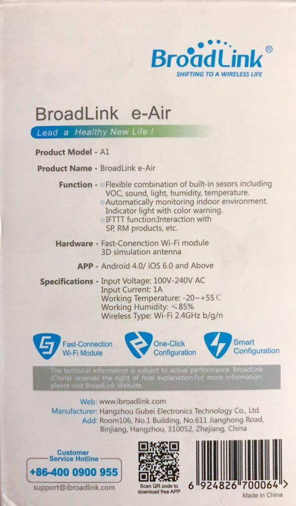 Broadlink A1 e-Air - Dettaglio package