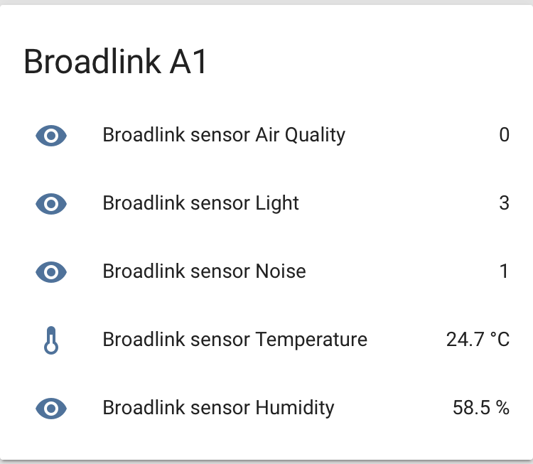 Broadlink A1 e-Air su Home Assistant