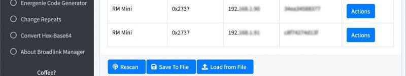 Catturare codici infrarossi e radiofrequenza usando Broadlink Manager (via Web GUI)