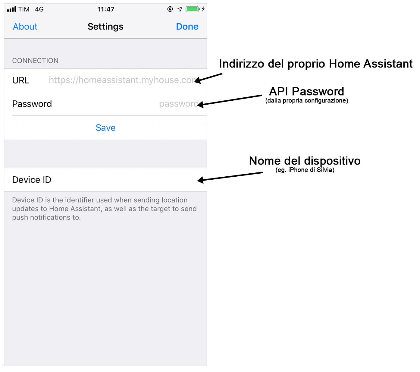 Configurazione Home Assistant Companion