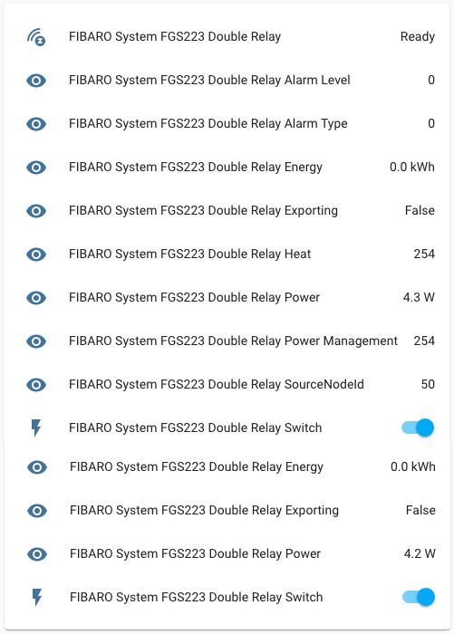 FIBARO Double Switch 2 Z-Wave - Integrazione Home Assistant - Entità