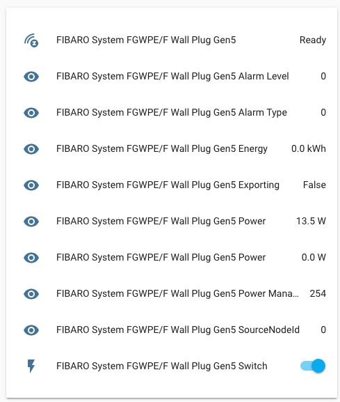FIBARO Wall Plug - Integrazione Home Assistant - Entità