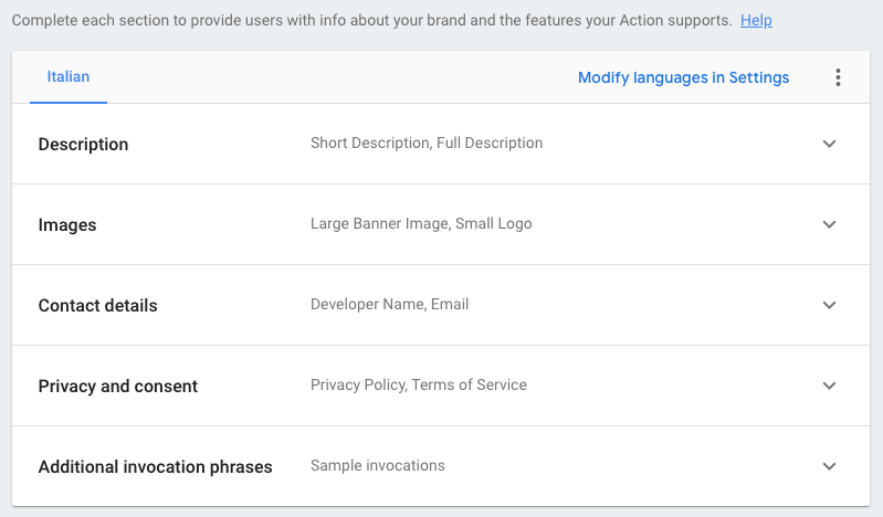 Google Actions - New project - Deploy