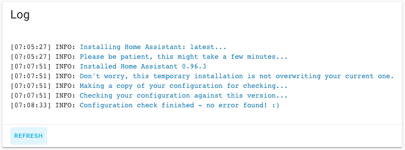 HASSIO - Check Home Assistant configuration - Log