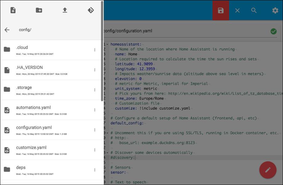HASSIO - Configurator - Interfaccia di editing