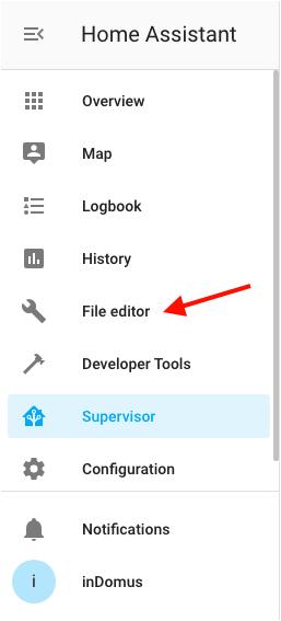 HASSIO - File Editor (Configurator) - Sidebar menu