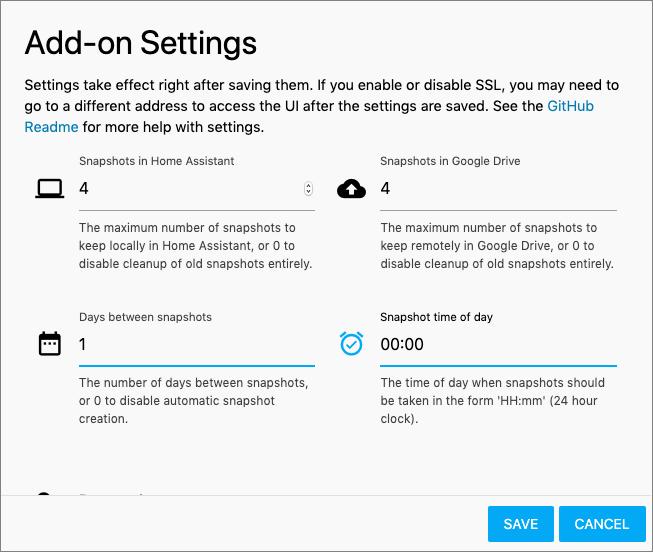 HASSIO - Google Drive Backup add-on - Settings