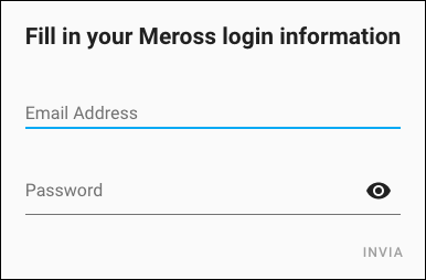 Home Assistant - Meross - integrazione - username e password