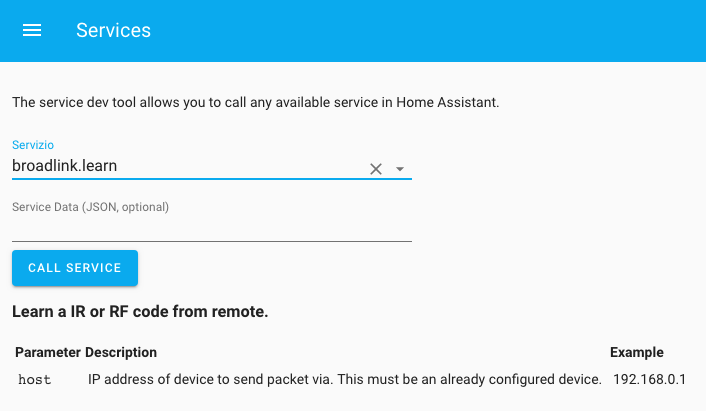 Home Assistant - Services - Broadlink Learn