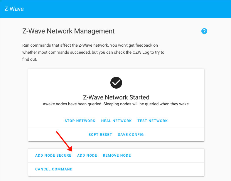 Home Assistant - Z-Wave - Add Node
