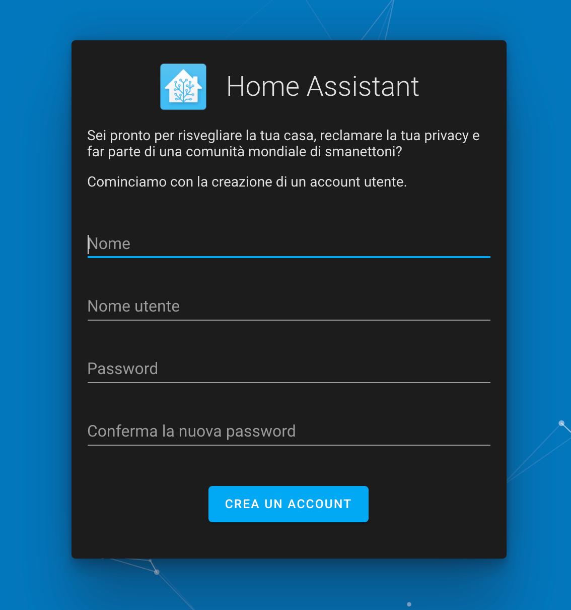 Home Assistant - onboarding - creazione utente