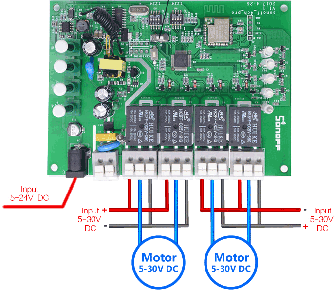 ITEAD Sonoff 4ch PRO connessione motori DC