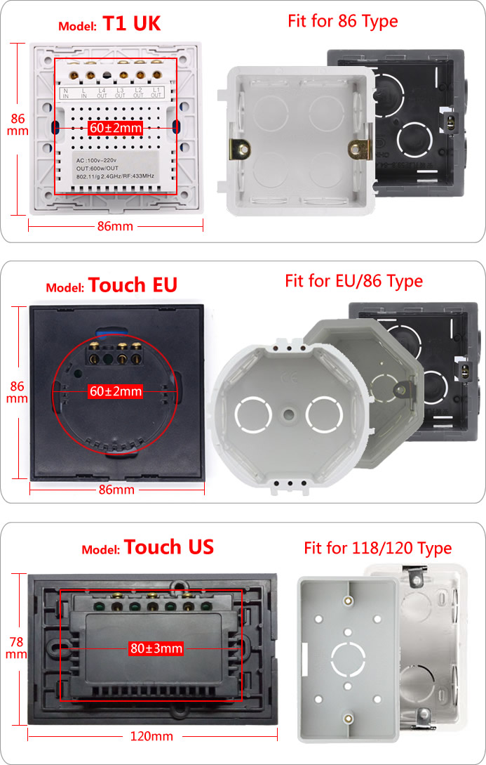 ITEAD Sonoff T1 Touch - Forme e incassi