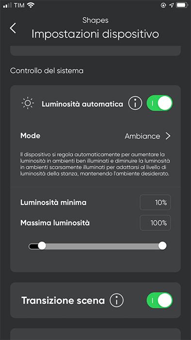 Nanoleaf - App - Luminosita automatica
