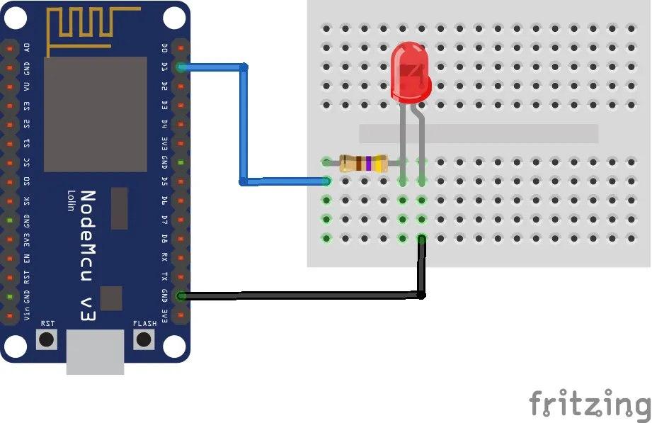 NodeMCU - Schema connessione LED