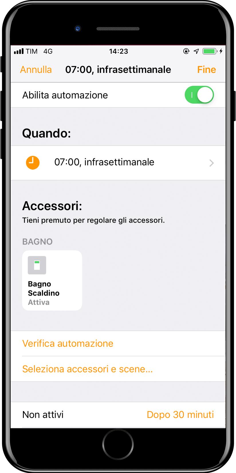 Nuova automazione Apple iOS Casa - Orario - Finale