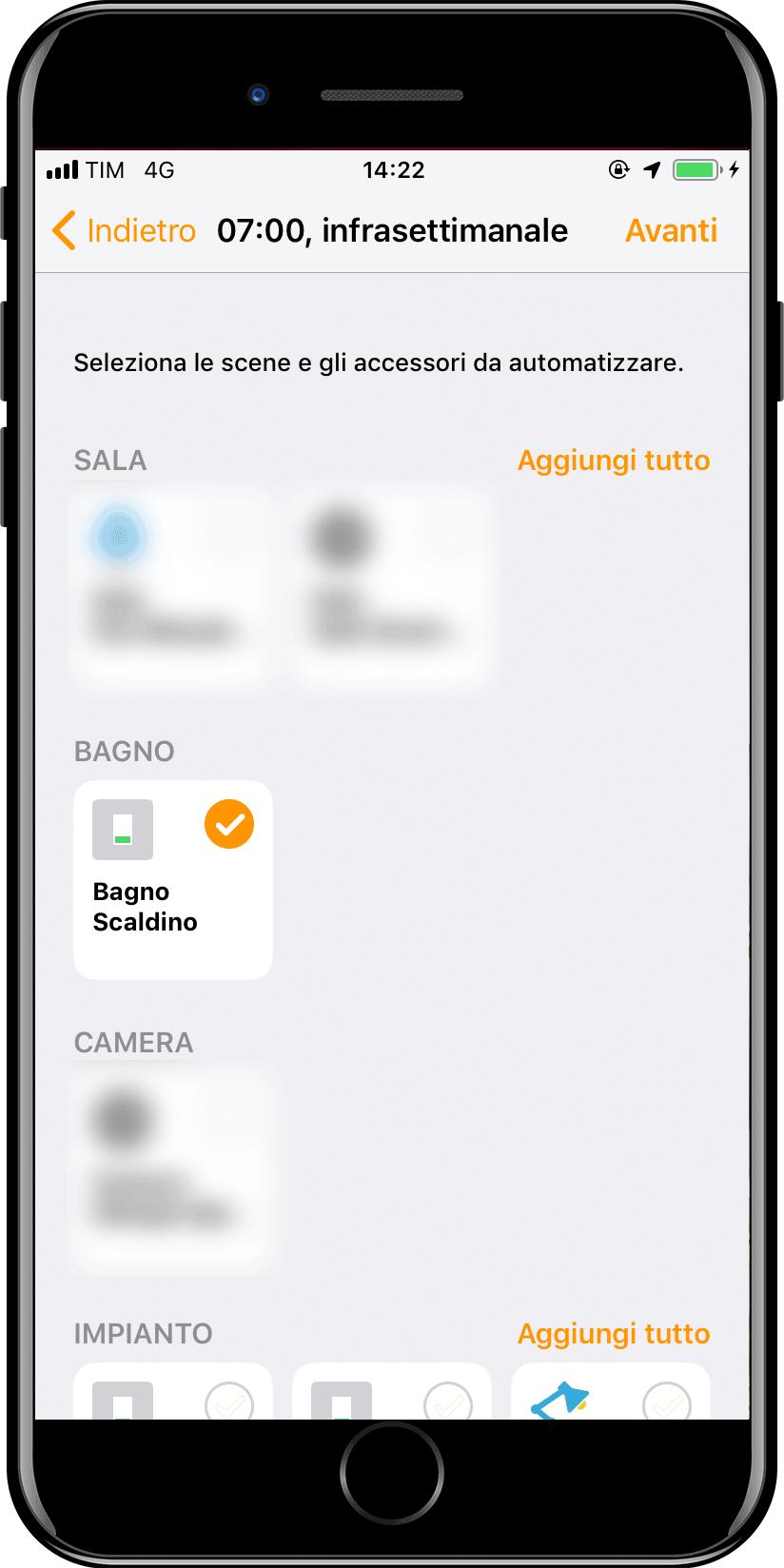 Nuova automazione Apple iOS Casa - Orario - Scelta Accessorio