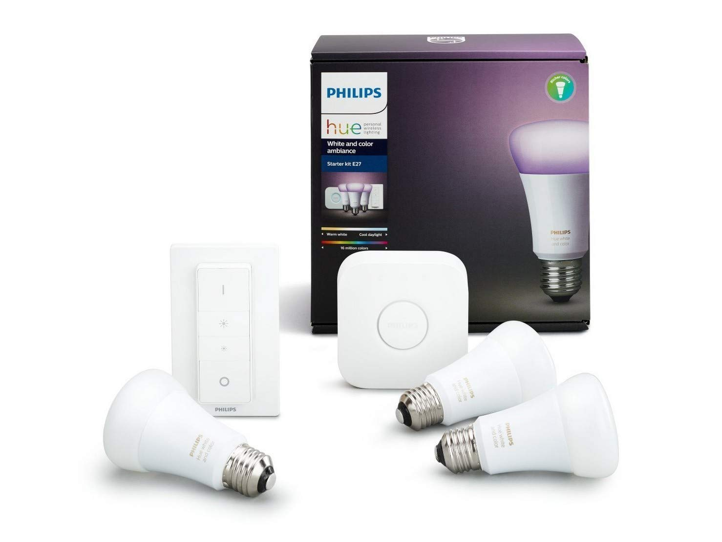 Philips Hue - White and Color Ambiance Starter Kit con 3 Lampadine