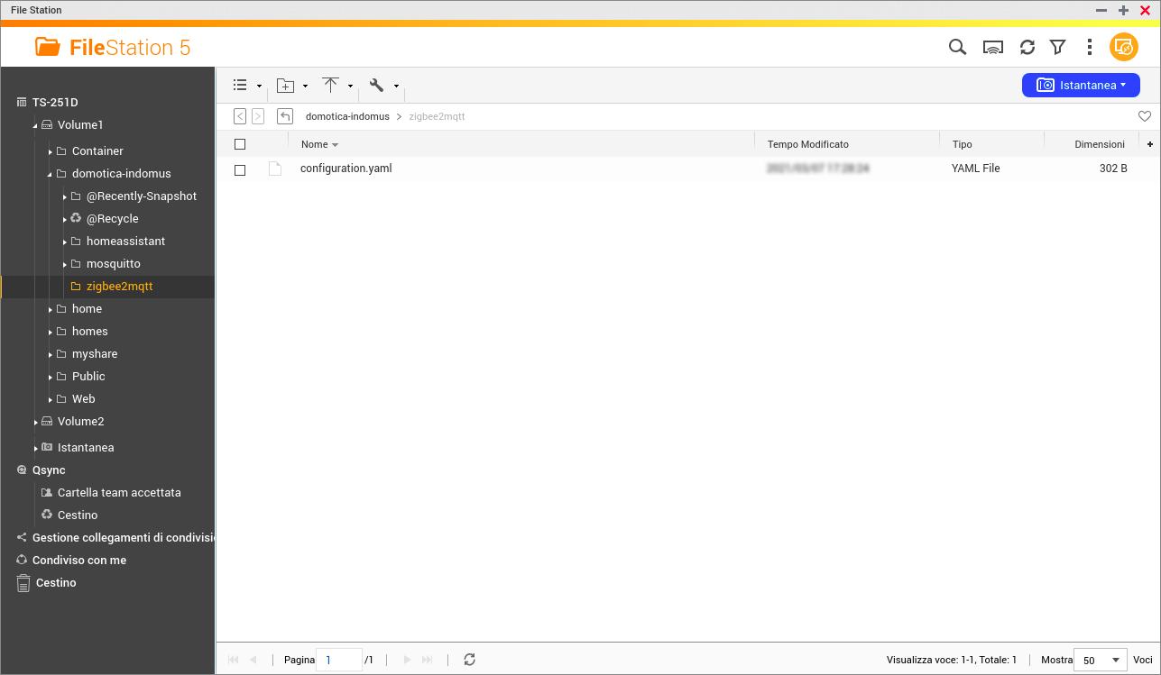 QNAP - FileStation - File di configurazione ZigBee2MQTT