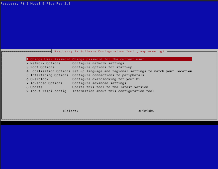 Raspberry Pi - Raspbian Buster config menu - top level