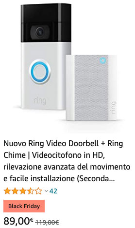 Ring Video Doorbell + Ring Chime Videocitofono in HD - Black Fiday
