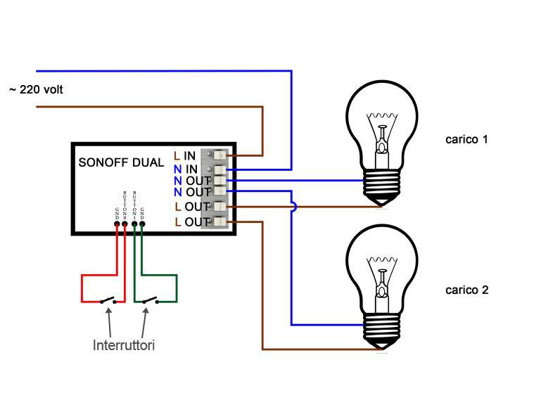 Schema Sonoff Dual -carichi - con interruttori