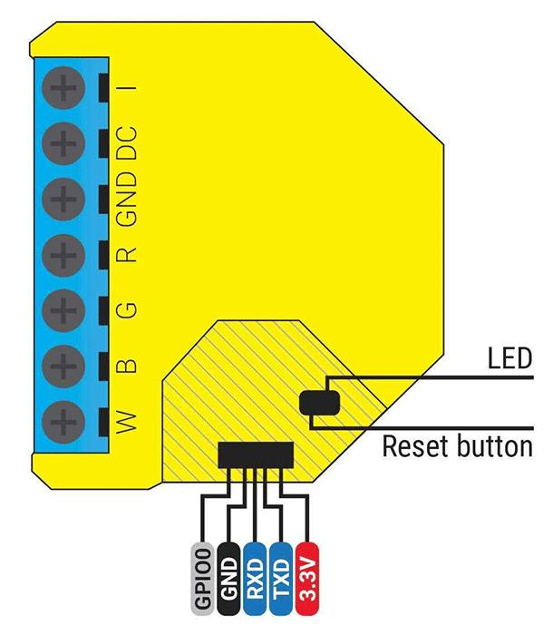 Shelly RGBW2 - connessioni per riprogrammazione