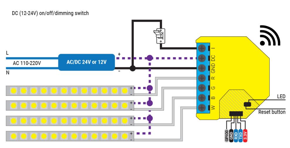 Shelly RGBW2 - schema di connessione - DC 4x White LED strip