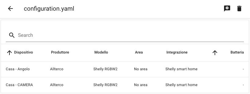 ShellyForHASS - Menu Integrazioni - Elenco - Con info Shelly Cloud