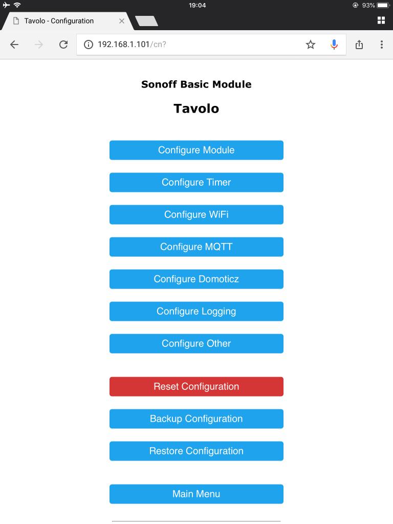 ITEAD Sonoff Basic - configurazione Tasmota