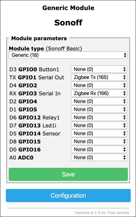 Sonoff-Tasmota - Configurazione ZigBee-To-Tasmota