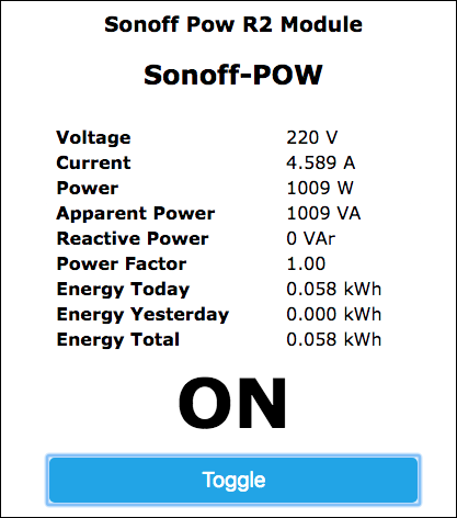 Sonoff-Tasmota POW R2 Web Interface