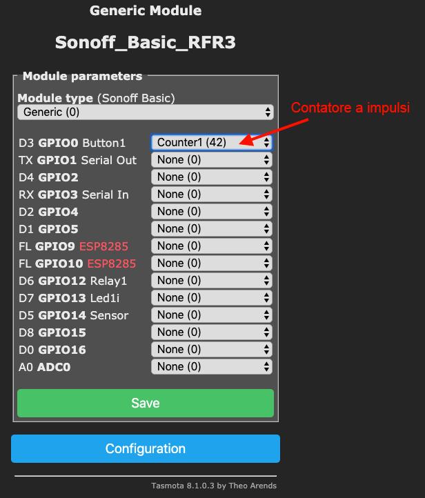 Sonoff-Tasmota - configurazione a impulsi