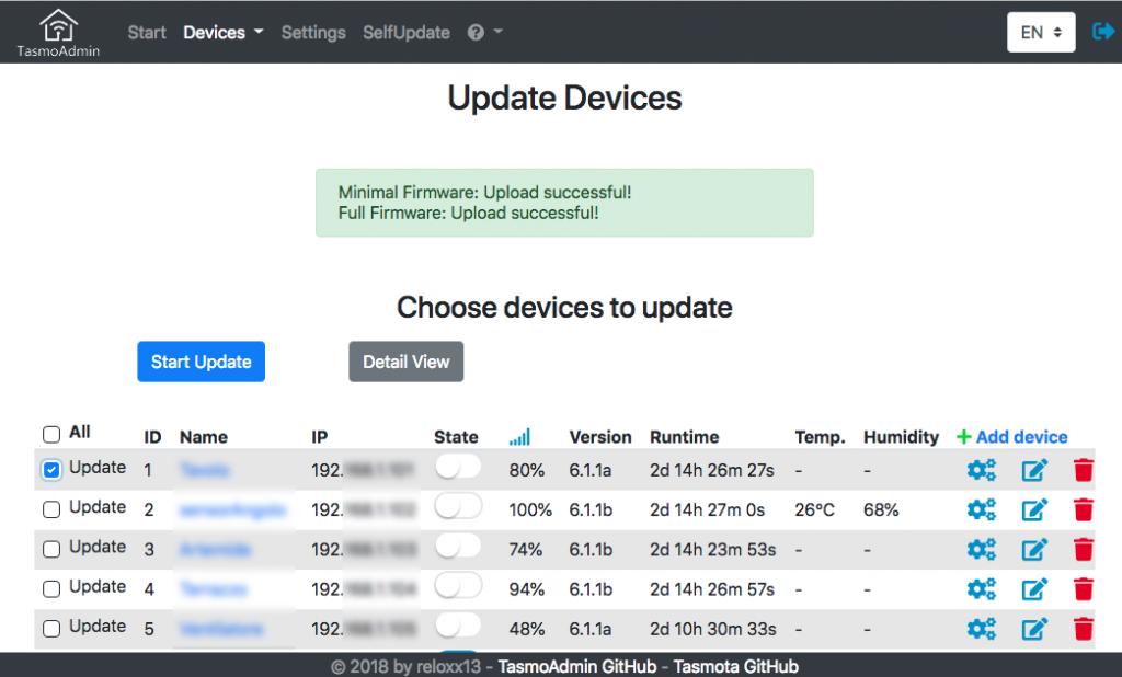TasmoAdmin Firmware Update Lista componenti