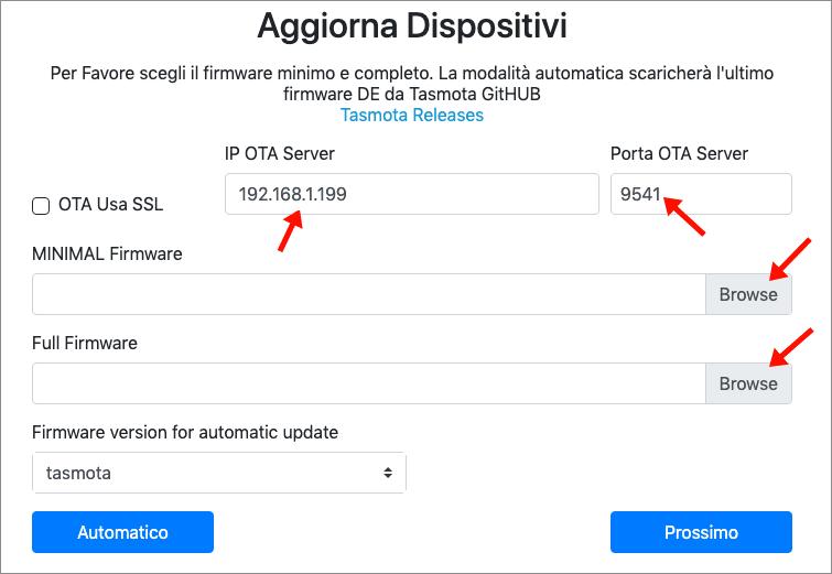 TasmoAdmin - aggiornamento massivo OTA File - step 1