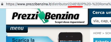 URL Prezzi Benzina ID