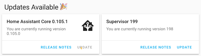 Update 0.105 Home Assistant Core e Supervisor