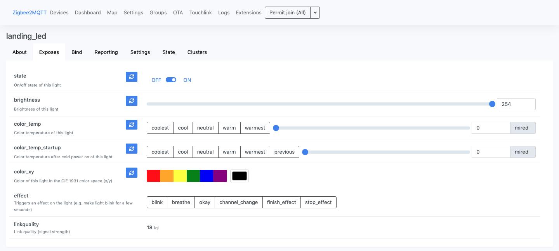 ZigBee2MQTT - Interfaccia web - Dettagli componente - Exposes