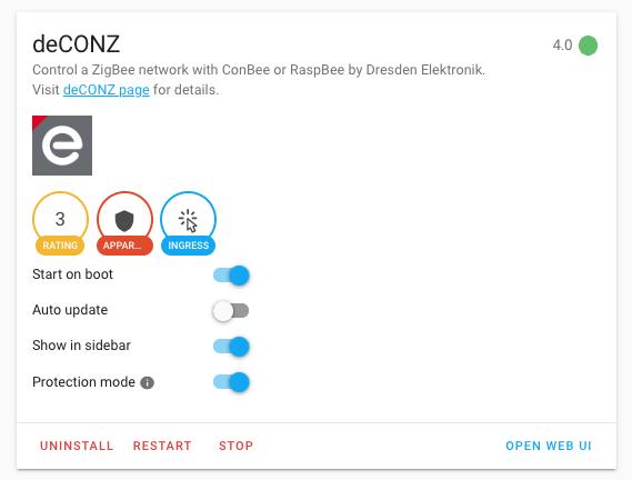deCONZ HASSIO add-on 4.0