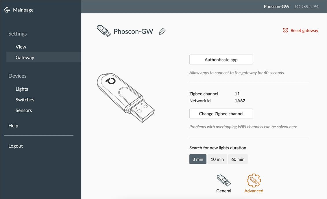 deCONZ - Impostazioni - Avanzate